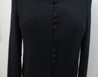 1950s-60s Black bouclé jacket with beaded collar - 36 in. bust