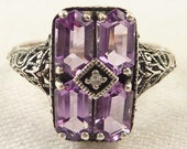 RESERVED for J ============= Size 10 Vintage Filigree Sterling Four Emerald Cut Amethyst Ring with Diamond Chip Center
