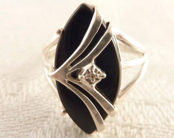 Vintage Size 6 Marquise Shaped Onyx with Diamond Chip Center Sterling Ring