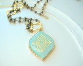 Boho Tribal Mint Green MOP Amulet with 24kt Gold Plated Pyrite Chain and 24kt Gold Plate Quatrefoils