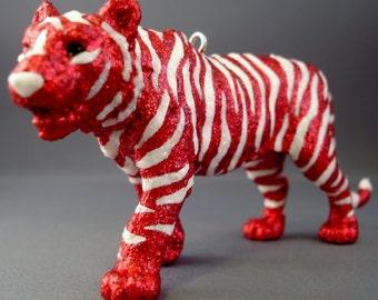 Glitter Menagerie Tiger Ornament