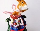 An Original Needle Felted Deer with Spun Cotton Spotty Toadstool