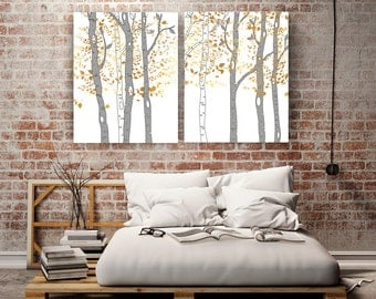 Birch Trees Wall Art Large Canvas Prints Extra Large Tree Art Faux Gold  Wall Art Stretched Part 63
