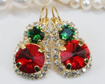 Christmas Gold Earrings Red Green Crystal Earrings Swarovski Christmas Earrings Christmas Drop Halo Earrings Red Green rhinestone,Gold,GE104