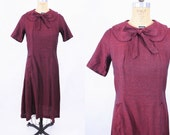 1960s dress vintage 60s black red peter pan collar bow tie sheath dress S/M