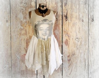 Marilyn Monroe Shirt Tattered Tutu Shabby Lace Top Boho Women's Tank Cream Off White Eco Chic Wearable Art Clothes Layering Clothing XS/S