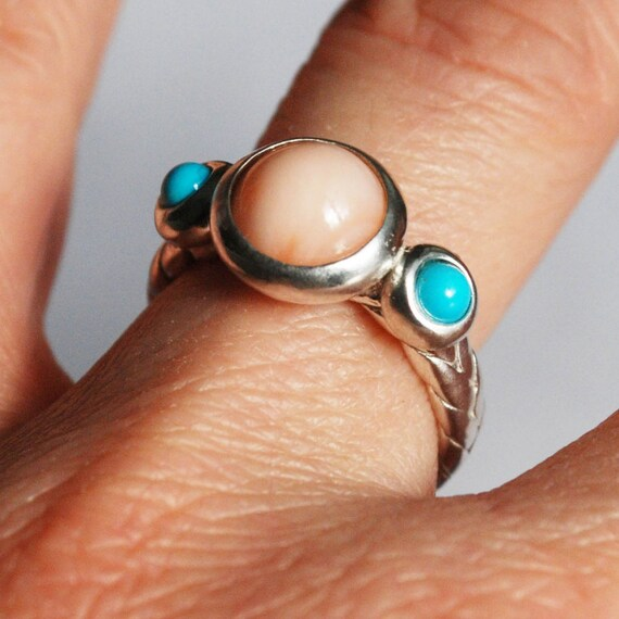 Coral and Turquoise Sterling Silver Braid Ring
