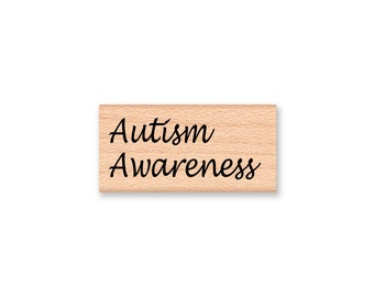 Autism Awareness~Rubber Stamp~Autism Support~ASD Stamps~Fund Raising Supplies~Spectrum~Wood Mounted Stamp~Mountainside Crafts (43-19)