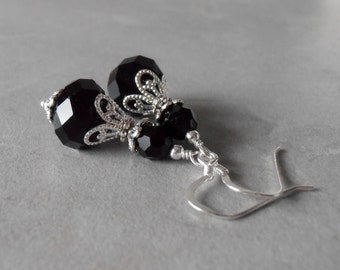 Black Crystal Earrings for Bridesmaids Beaded Dangle Earrings Black and Silver Wedding Jewelry Bridesmaid Gift Black Earings Black Jewelry