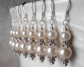 Pearl Bridesmaid Earrings Bridal Jewelry Off White Pearl Dangle Earrings Beaded Earrings Classic Wedding Jewelry Ivory Cream or Custom Color
