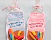 INSTANT DOWNLOAD Printable Valentine candy gift DIY mason jar for gummi worms, insect toys, valentine candy classroom gift