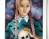 Pastel Goth wednesday addams print illustration space skull bats pink hair