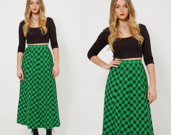 Vintage 50s GREEN Plaid Skirt BUFFALO Plaid Maxi Skirt PLEATED Retro Skirt Indie Grunge Maxi Skirt