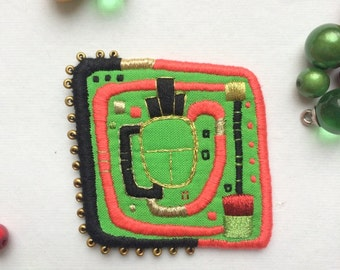 Textile Brooch Hundertwasser Window, hand embroidered wearable art, unique jewellery gift