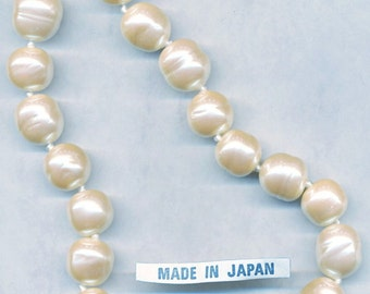 14MM JAPANESE GLASS PEARLS vintage baroque glass pearls handmade