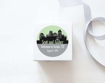 Austin, TX Custom Wedding Welcome Stickers - SKYLINE DESIGN