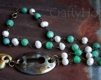 Blue-Green Brass Keyhole Necklace