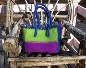 felted wool tote, medium tote, blue, purple, lime