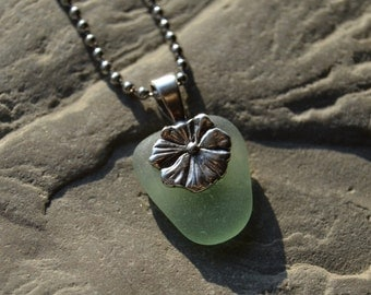 Genuine Sea Glass Necklace, Petite Seafoam with Sterling Flower Bail, Beach Sea Glass Jewelry