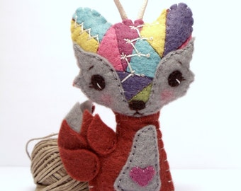 Crazy Quilt Felt Fox Ornament