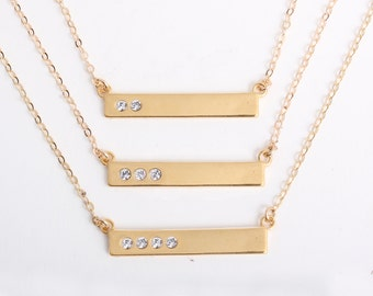 """Gold Personalized Birthstone Bar Necklace with Diamond Crystals. Gold Mothers Necklace with """"Blessed"""". Family Necklace, Gift for Mom!"""