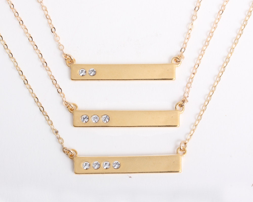 gold personalized birthstone bar necklace with diamond. Black Bedroom Furniture Sets. Home Design Ideas
