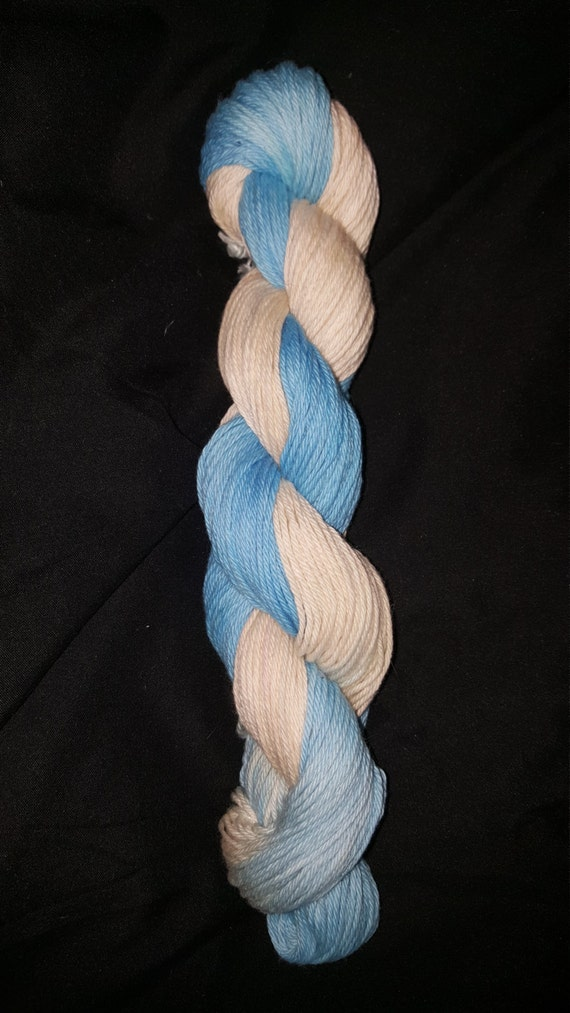 "Ring Toss- ""Coney Island Collection"" 100 Organic Cotton Yarn, Hand dyed, Light blue colorway"