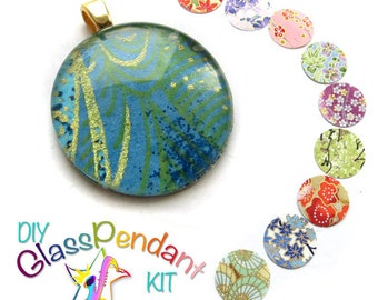 DIY kit - Glass Pendant kit - Chiyogami paper pendant kit, Glass tile jewelry kit, make your own glass pendant, Craft kit, Gift for ladies