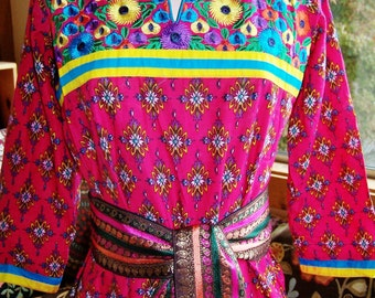 India dress, Tunic Dress, Bollywood tunic, Embroidered tunic, Colorful tunic, Floral dress, size M