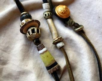 Grasshopper, a Soft Collier Cairn Necklace  w / Artisan Lampwork, Stoneware, Wormshell, Faience, & Ashanti on Waxed Handcut Buckskin