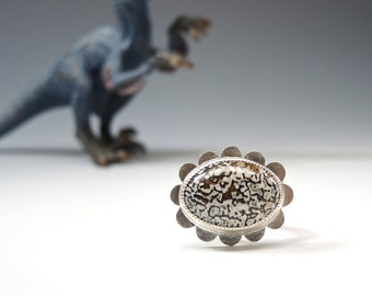 Fossil Dinosaur Bone, Fossil Ring, Sterling Silver Ring, Silver Flower, Fabricated