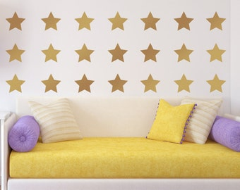 Gold star decals, wall paper alternative, wall decal packs, metallic gold star wall stickers, peel and stick, wall pattern