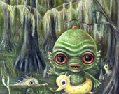 Baby Creature From the Black Lagoon Print,  Swimming Swamp Monsters Pop Surrealism, Lowbrow Children's Decor, Nursery Art