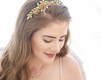 Leaf Headband, Gold Headband of Leaves and Flowers Beaded Wedding Headpiece Metal Leaf Headband Rustic Gold and Green Bridal flower Crown