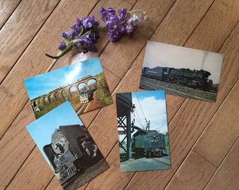 Set of 4 vintage train postcards - New York Central - Erie Lackawanna