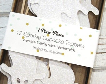 White Glitter Ghost Cupcake Toppers - Set of 12 - Halloween