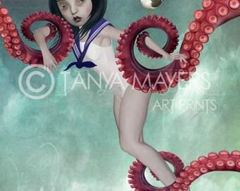 A3 Art Print - Large Print - Sailor Girl Art - Big Eyes Art - A Distraction