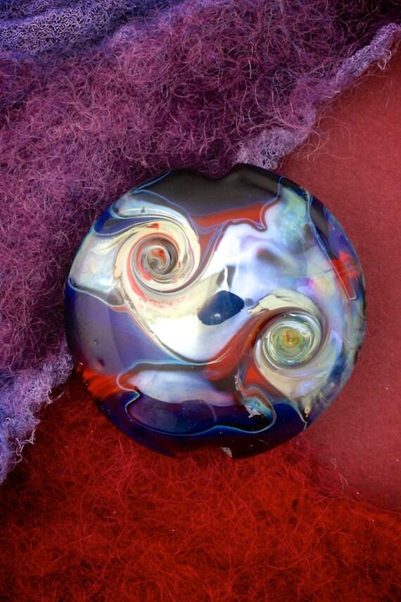 """Original Art Glass SRA Lampwork Beads """"Thalassa"""" Organic Lustre & Texture Silver Glass Lentil Focal"""