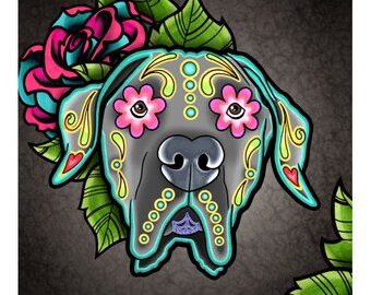 "SALE Regularly 14.95 - Great Dane with Floppy Ears - Day of the Dead Sugar Skull Dog 8"" x 10"" Art Print"