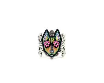 Min Pin Ring - Day of the Dead Miniature Doberman Pinscher Sugar Skull Dog Adjustable Ring