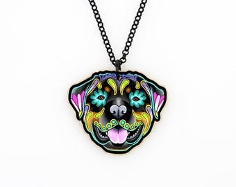 Rottweiler Day of the Dead Sugar Skull Dog Necklace