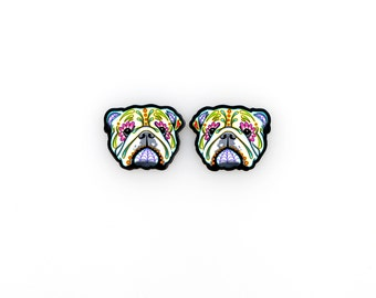 English Bulldog - Day of the Dead Sugar Skull Dog Earrings