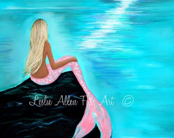 "Mermaid Art  Mermaids Art Print Giclee Mermaid Wall Art Decor Beach House Decor Wall Hanging ""Pink Tail Beauty""  Leslie Allen Fine Art"