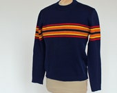 70's Crew Neck Ski Sweater / Navy Blue with Red & Yellow Stripes / Made in Austria / Small
