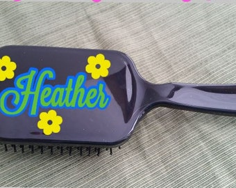 Personalized Hair Brush with Flowers, Paddle Brush, Hairbrush, Personalized Hairbrush, Hair, Personalized Gift,