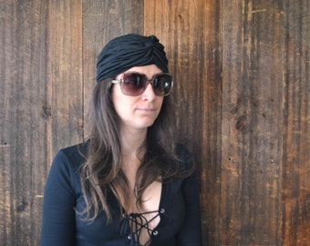 Black Turban Hat / ethnic boho festival