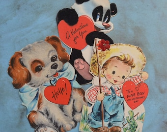 Vintage Hallmark Tommy and his Turtle Dog and Panda Childrens Valentine Cards