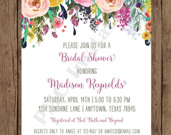 Custom Printed Floral Watercolor Bridal Shower Invitations - Watercolor Floral Invitation - 1.00 each with envelope