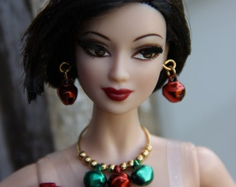 Red Christmas Jingle Bells Charm Earrings Fashion Doll Jewelry 11 1/2 - 12 inch 1/6th Scale 18 inch Dolls