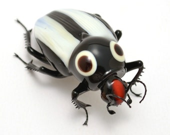 Blech! Beetle - realistic lampwork glass scarab insect beetle figurine glass artist Wesley Fleming